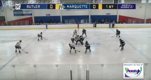Faceoff on Saturday afternoon's game (Marquette University Television).