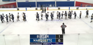 Butler and Marquette shake hands following the Saturday afternoon game (Marquette University Television)